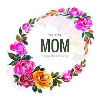 Tarjeta del día de las madres felices y marco decorativo de flores circulares