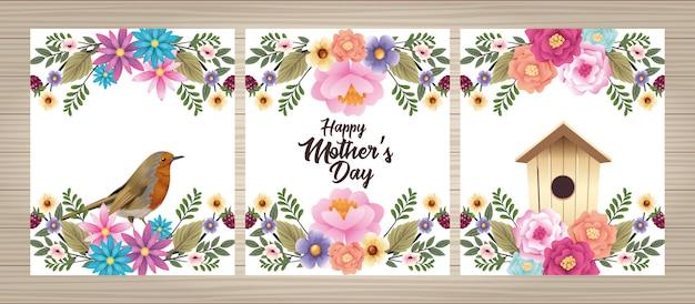 Tarjeta del día de las madres felices con marco floral pájaro y ave doméstica