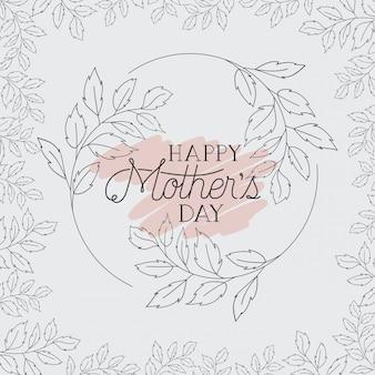 Tarjeta del día de las madres felices con marco de hierbas