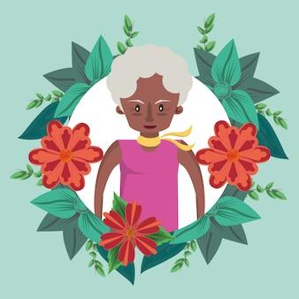 Tarjeta del día de las madres felices con personaje de abuela afro