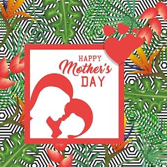 Tarjeta del día de las madres felices con la silueta de madre e hijo