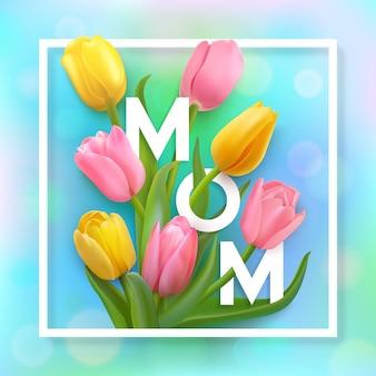 Tarjeta del día de las madres felices con tulipanes rosados y amarillos sobre un fondo azul con marco