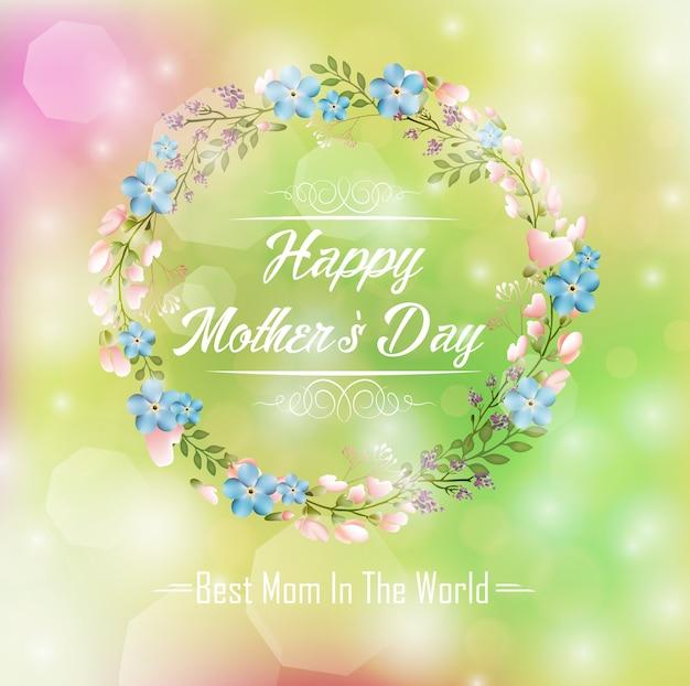 Tarjeta del día de las madres feliz con marco redondo floral