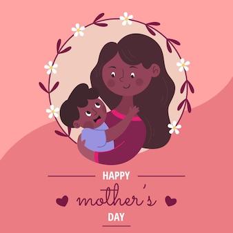 Tarjeta del día de las madres con niña