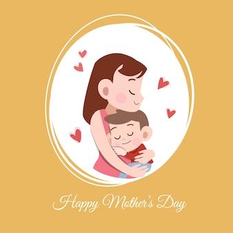 Tarjeta de día de madres saludo ilustración vectorial