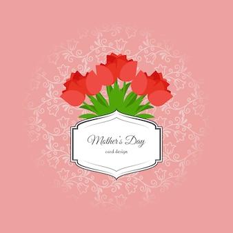 Tarjeta del día de las madres con tulipanes rojos.