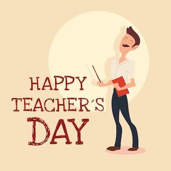 Tarjeta del día del maestro feliz con diseño de hombre
