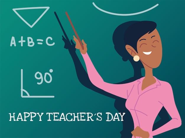 Tarjeta del día del maestro feliz con diseño de mujer