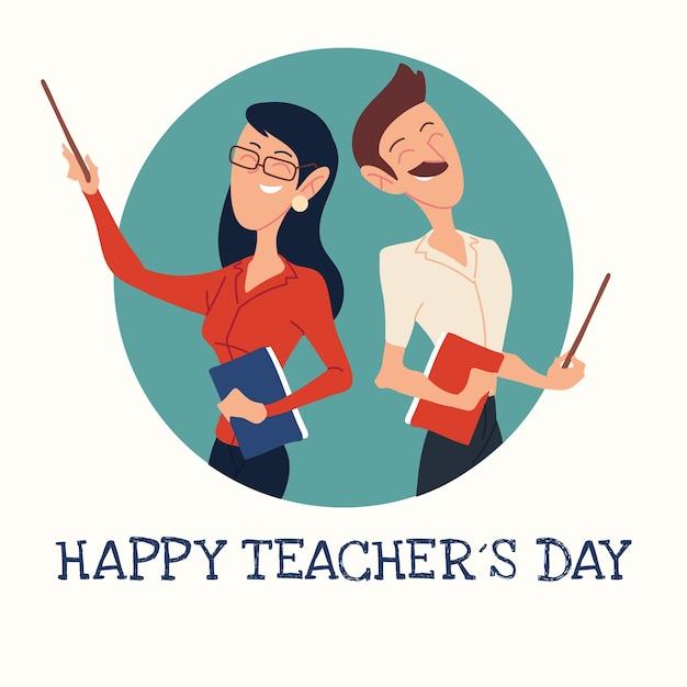 Tarjeta del día del maestro feliz con diseño de pareja de maestros