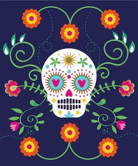 Tarjeta de dia de muertos con calavera y flores