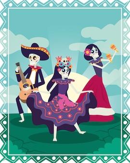 Tarjeta dia de los muertos con calaveras de mariachi y catrinas