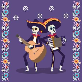 Tarjeta de dia de los muertos con calaveras de mariachis tocando la guitarra y el acordeón