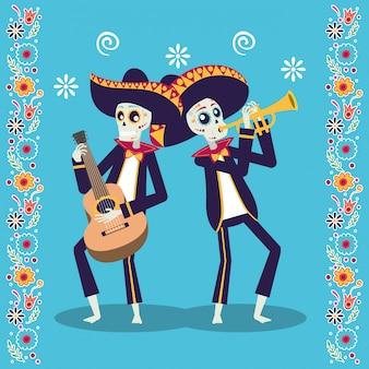 Tarjeta de dia de los muertos con calaveras de mariachis tocando guitarra y trompeta