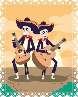 Tarjeta de dia de los muertos con calaveras de mariachis tocando guitarras