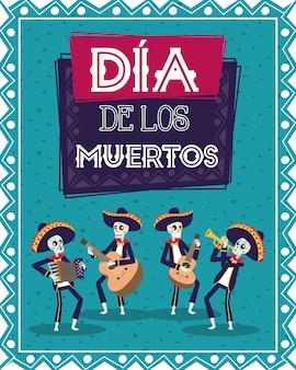 Tarjeta dia de los muertos con calaveras de mariachis tocando instrumentos