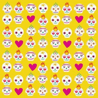 Tarjeta de dia de muertos con calaveras y paquete de corazones