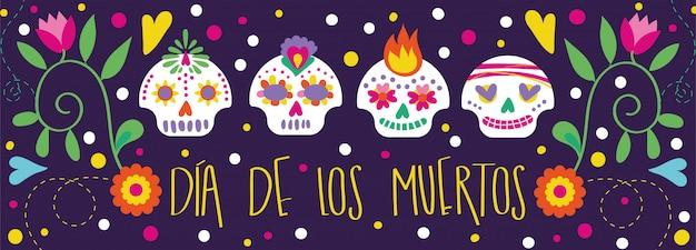 Tarjeta dia de muertos con caligrafía y decoración floral de calaveras