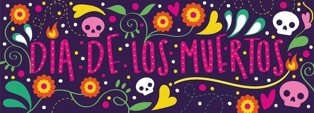 Tarjeta dia de muertos con caligrafía y decoración floral.