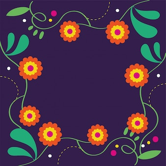 Tarjeta dia de muertos con decoración floral