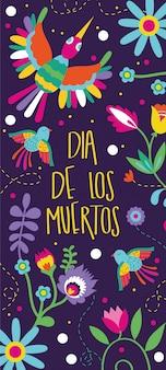Tarjeta de dia de muertos con letras y decoración floral de pájaros