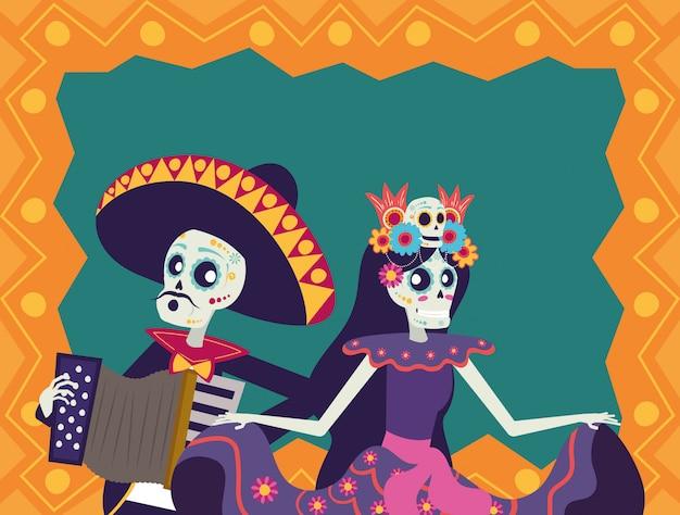 Tarjeta dia de los muertos con mariachi tocando acordeón y catrina