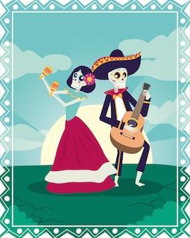 Tarjeta de dia de los muertos con mariachi tocando guitarra y catrina