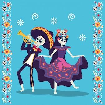 Tarjeta de dia de los muertos con mariachi tocando trompeta y catrina
