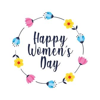 Tarjeta del día de la mujer feliz con flores de corona. ilustración
