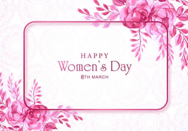 Tarjeta del día de las mujeres con marco decorativo de flores