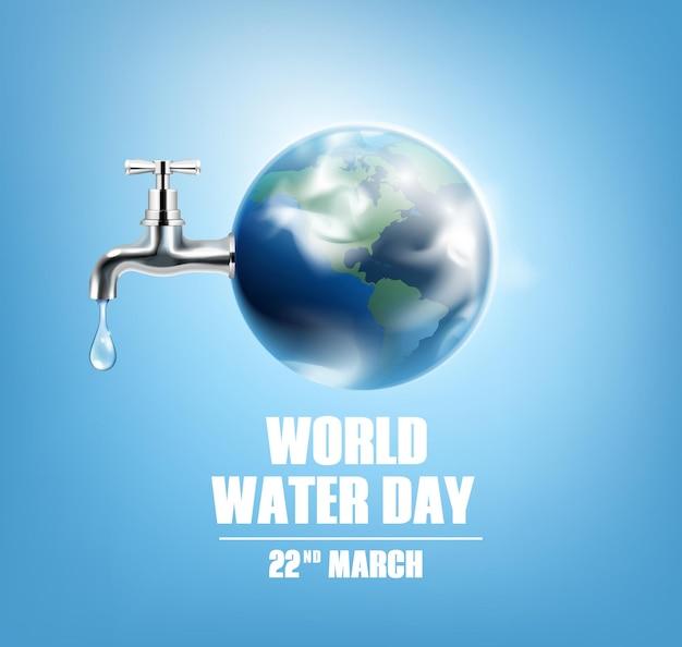 Tarjeta del día mundial del agua con grifo de globo terráqueo y fecha 22 de marzo realista
