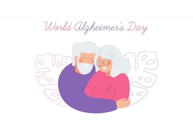 Tarjeta del día mundial del alzheimer con una pareja de ancianos que se cuidan mutuamente.