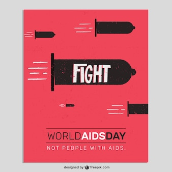 Tarjeta del día mundial contra el sida con condones como balas