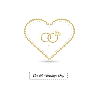 Tarjeta del día mundial del matrimonio con marco de corazón dorado brillante y anillo de bodas