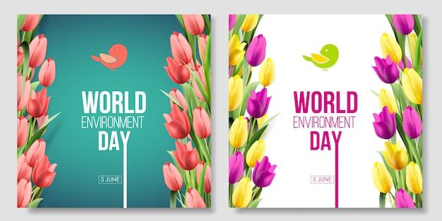 Tarjeta del día mundial del medio ambiente, banner en el fondo verde y blanco con flores, tulipanes rojos, amarillos, rosados y hojas. color coral vivo. 5 de junio. eco, bio, naturaleza.
