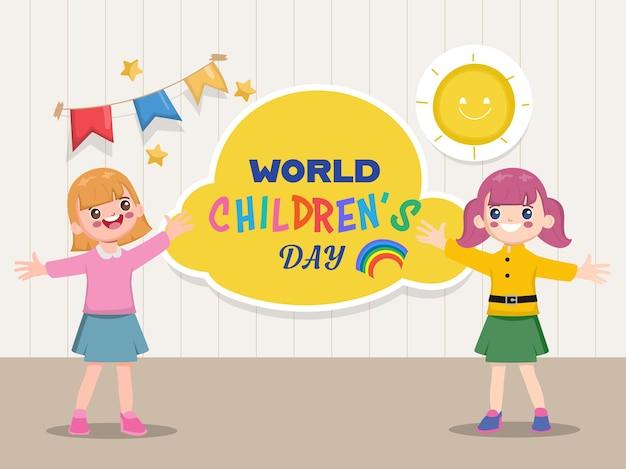 Tarjeta del día mundial del niño feliz con dos niñas felices