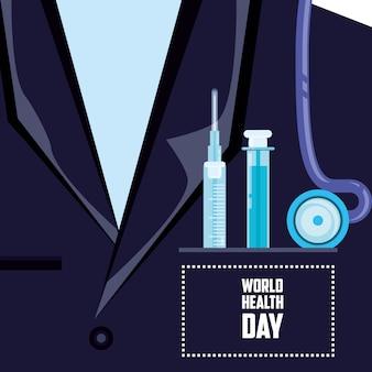 Tarjeta del día mundial de la salud con camisa médico