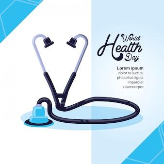 Tarjeta del día mundial de la salud con estetoscopio