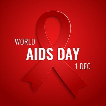 Tarjeta del día mundial del sida 1 de diciembre con cinta roja