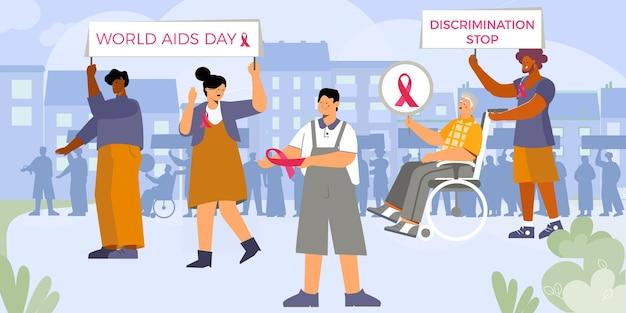 Tarjeta del día mundial del sida con un grupo de activistas que caminan
