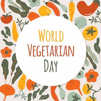 Tarjeta del día mundial vegetariano. composición redonda de verduras de otoño con alimentos naturales saludables