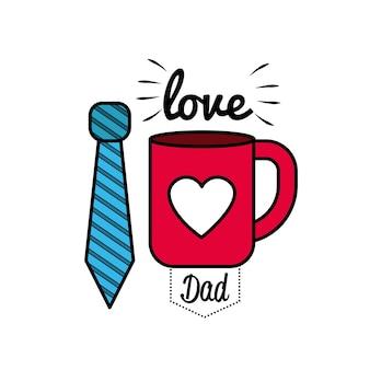 Tarjeta del día del padre con la decoración del lazo y la taza