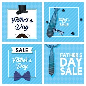 Tarjeta del día del padre feliz con corbata y anteojos