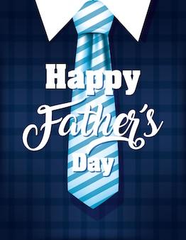 Tarjeta del día del padre feliz con traje elegante y corbata