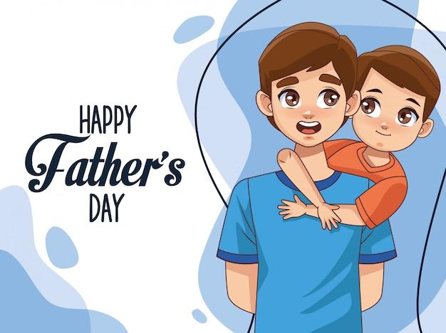 Tarjeta del día del padre con papá con hijo y letras