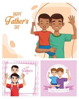 Tarjeta del día del padre con papás con personajes de hijos