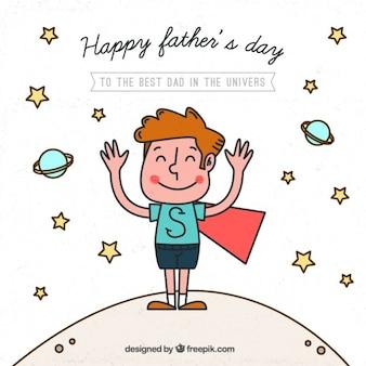 Tarjeta del día del padre de simpático niño con capa dibujado a mano