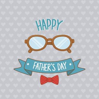 Tarjeta del día de padres felices con anteojos