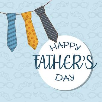 Tarjeta del día de padres felices con corbatas colgando