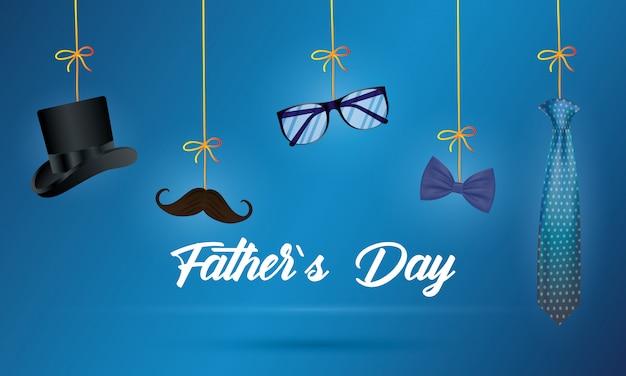 Tarjeta del día de padres feliz con accesorios de caballero colgando