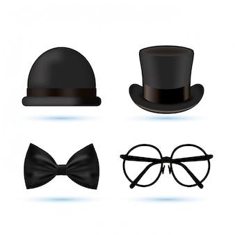 Tarjeta del día de padres feliz con accesorios de caballero